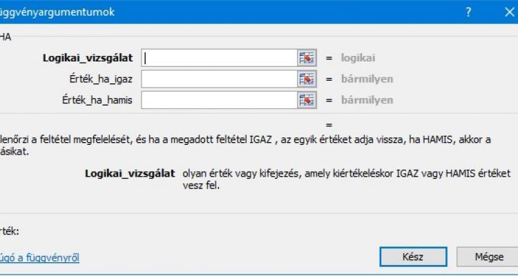 HA() függvény Excel