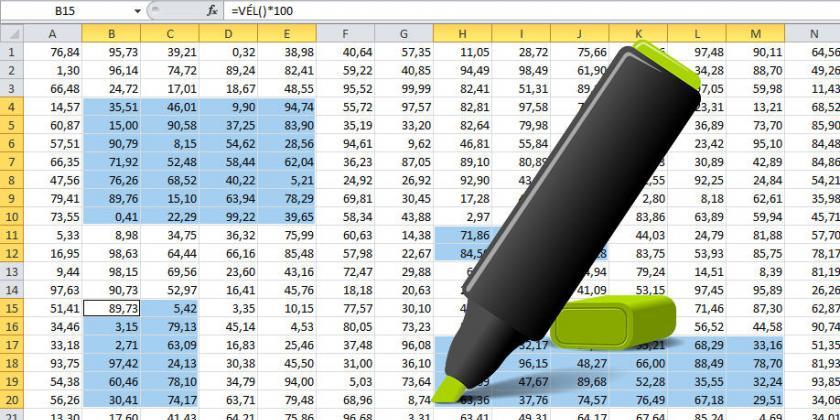 Excel tartomány kijelölések