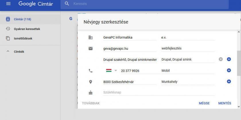 Gmail címtár - névjegyek