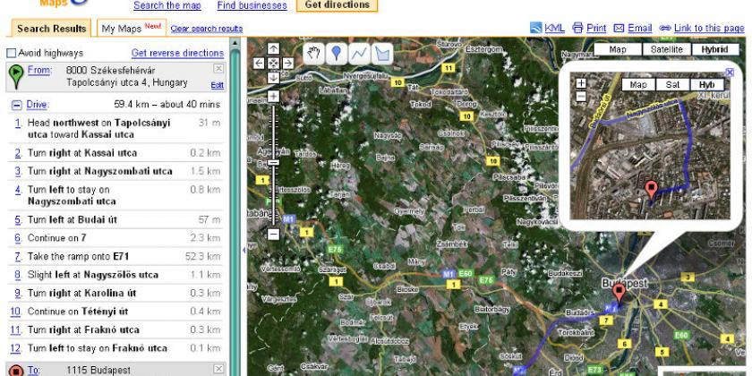 Google Maps - útvonalterv